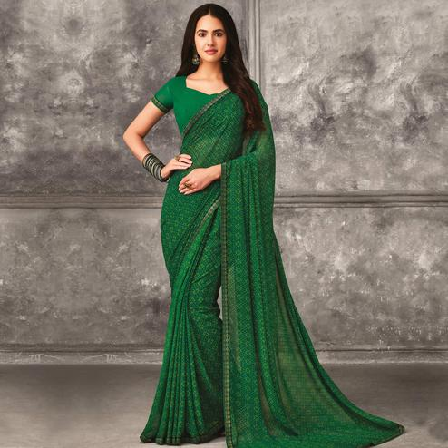 Arresting Green Colored Casual Wear Printed Georgette Saree