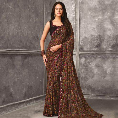 Exotic Brown Colored Casual Wear Printed Georgette Saree