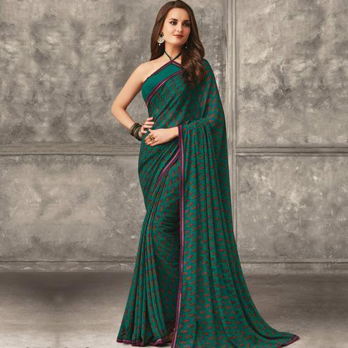 Radiant Green Colored Casual Wear Printed Georgette Saree
