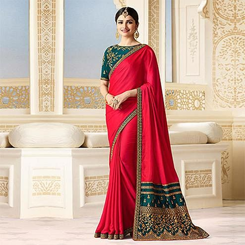 Adorable Deep Red Partywear Designer Blouse Sparkle Silk Saree