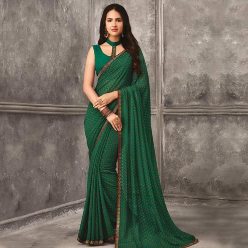 Energetic Green Colored Casual Wear Printed Georgette Saree