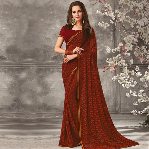 Exceptional Maroon Colored Casual Wear Printed Georgette Saree
