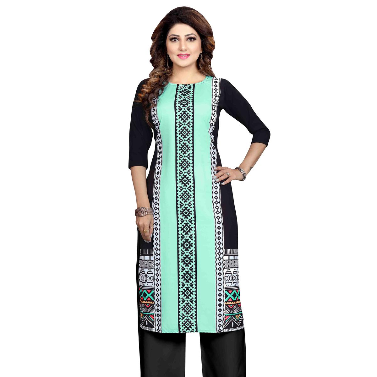 Arresting Turquoise Blue Colored Casual Wear Printed Calf Length Straight Crepe Kurti