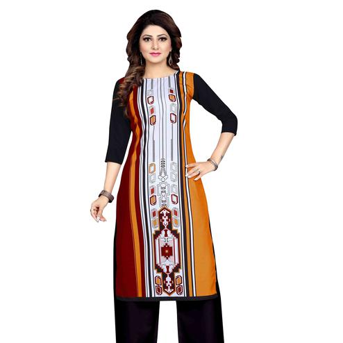 Desirable Multicolor Colored Casual Wear Printed Calf Length Straight Crepe Kurti