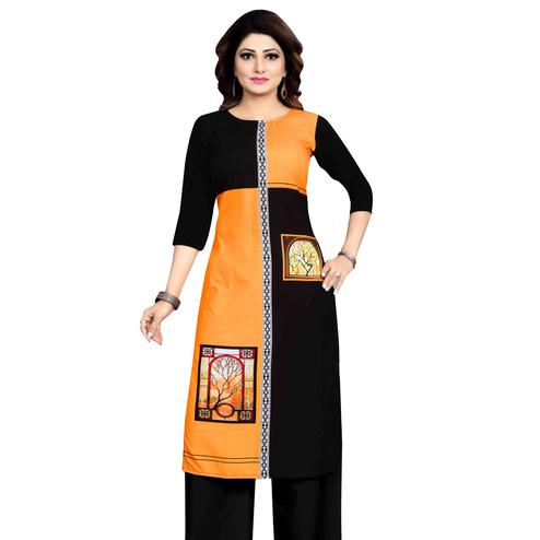 Exotic Mustard Yellow Colored Casual Wear Printed Calf Length Straight Crepe Kurti