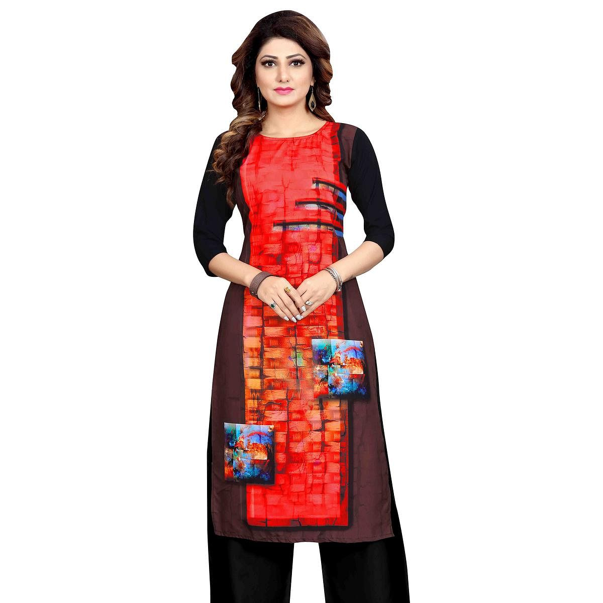 Trendy Red Colored Casual Wear Printed Calf Length Straight Crepe Kurti
