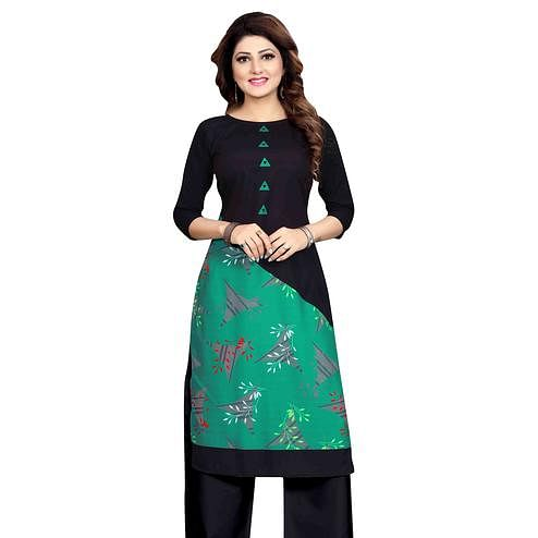 Elegant Green-Black Colored Casual Wear Printed Calf Length Straight Crepe Kurti