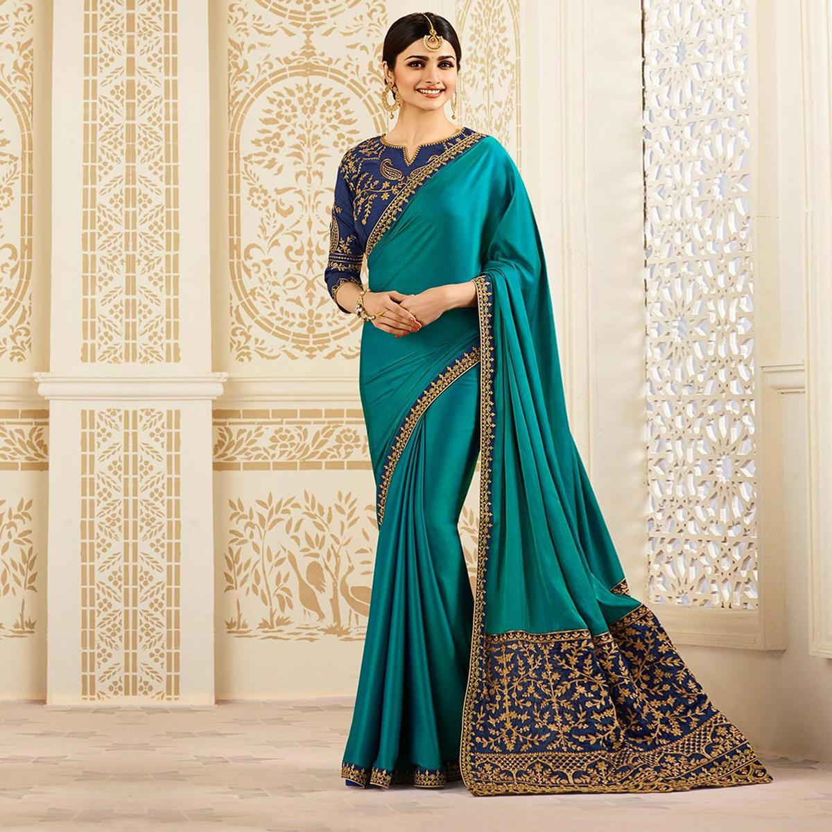 Gorgeous Pine Green Partywear Designer Blouse Sparkle Silk Saree
