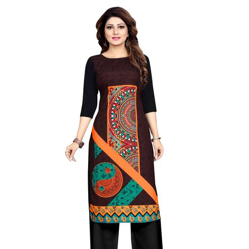 Radiant Brown Colored Casual Wear Printed Calf Length Straight Crepe Kurti