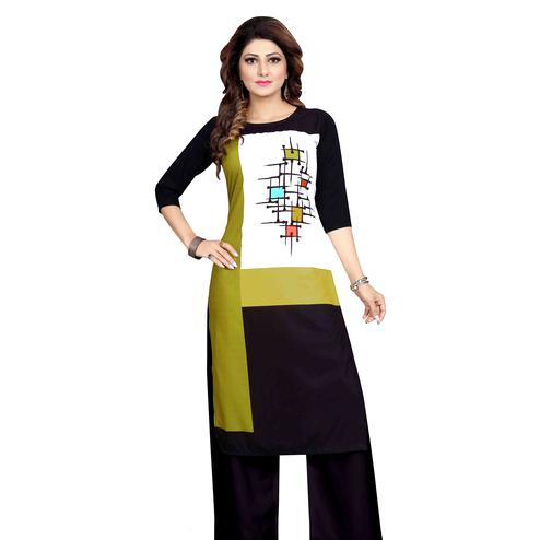 Pleasant Olive Green-Black Colored Casual Wear Printed Calf Length Straight Crepe Kurti