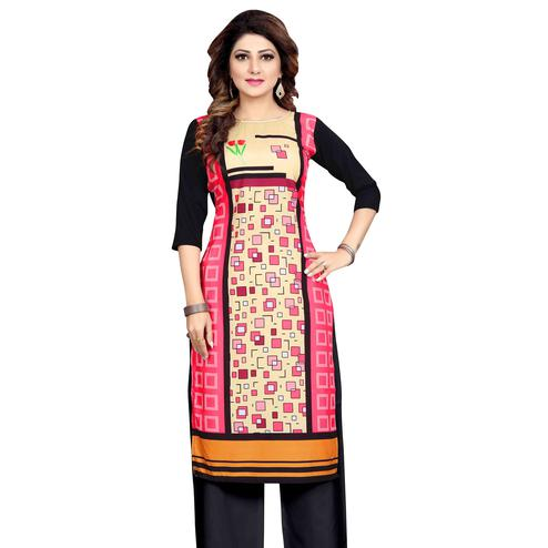 Opulent Pink Colored Casual Wear Printed Calf Length Straight Crepe Kurti