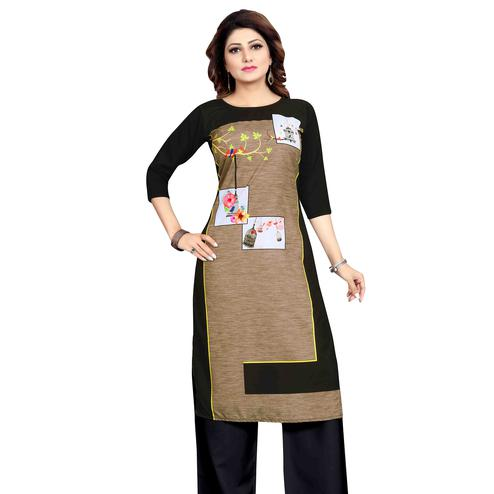 Energetic Beige Colored Casual Wear Printed Calf Length Straight Crepe Kurti