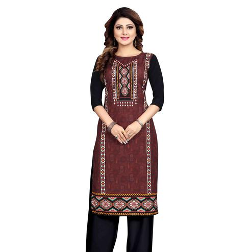 Glowing Brown Colored Casual Wear Printed Calf Length Straight Crepe Kurti