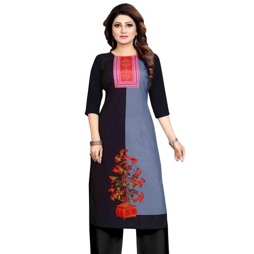 Exceptional Grey-Black Colored Casual Wear Printed Calf Length Straight Crepe Kurti