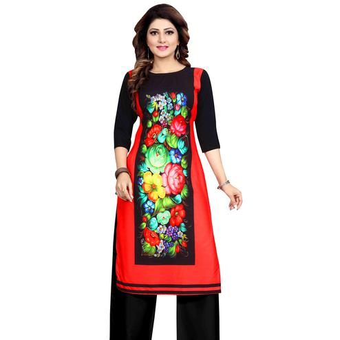 Gleaming Multicolor Colored Casual Wear Printed Calf Length Straight Crepe Kurti