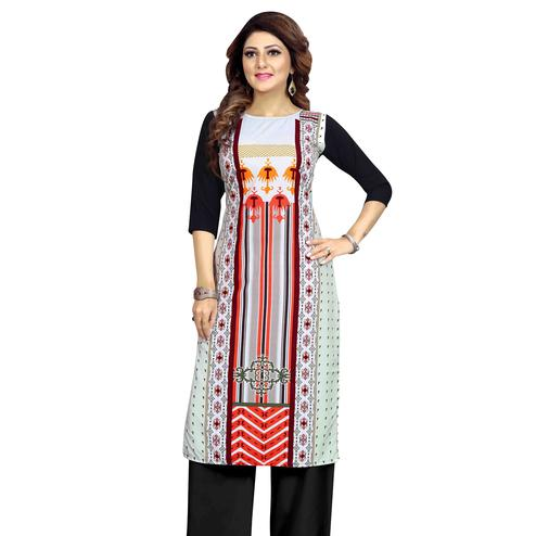 Mesmeric Multicolor Colored Casual Wear Printed Calf Length Straight Crepe Kurti