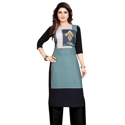 Unique Grey Colored Casual Wear Printed Calf Length Straight Crepe Kurti
