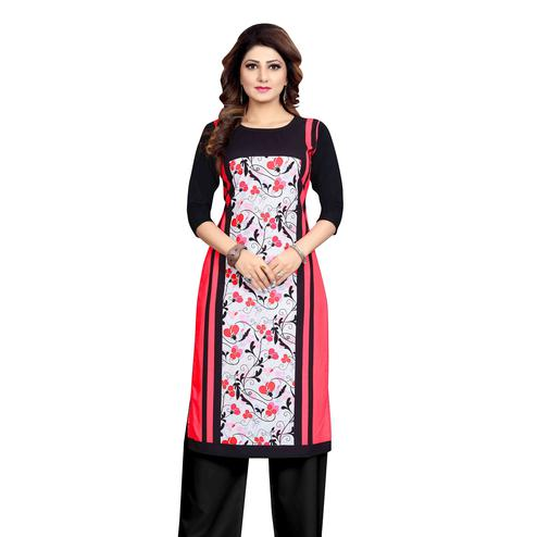 Refreshing Pink Colored Casual Wear Printed Calf Length Straight Crepe Kurti