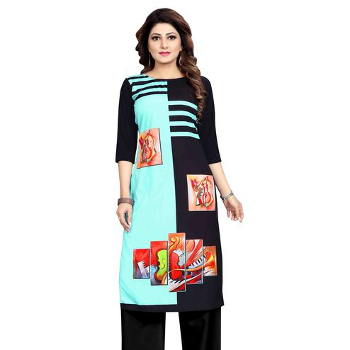 Magnetic Turquoise Blue-Black Colored Casual Wear Printed Calf Length Straight Crepe Kurti