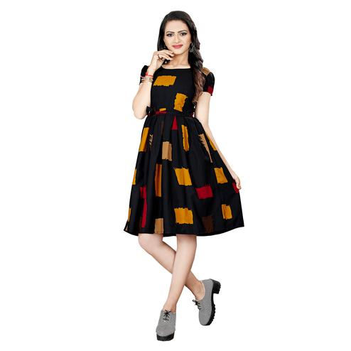 Trendy Black Colored Casual Wear Printed Knee Length Poly Crepe Dress