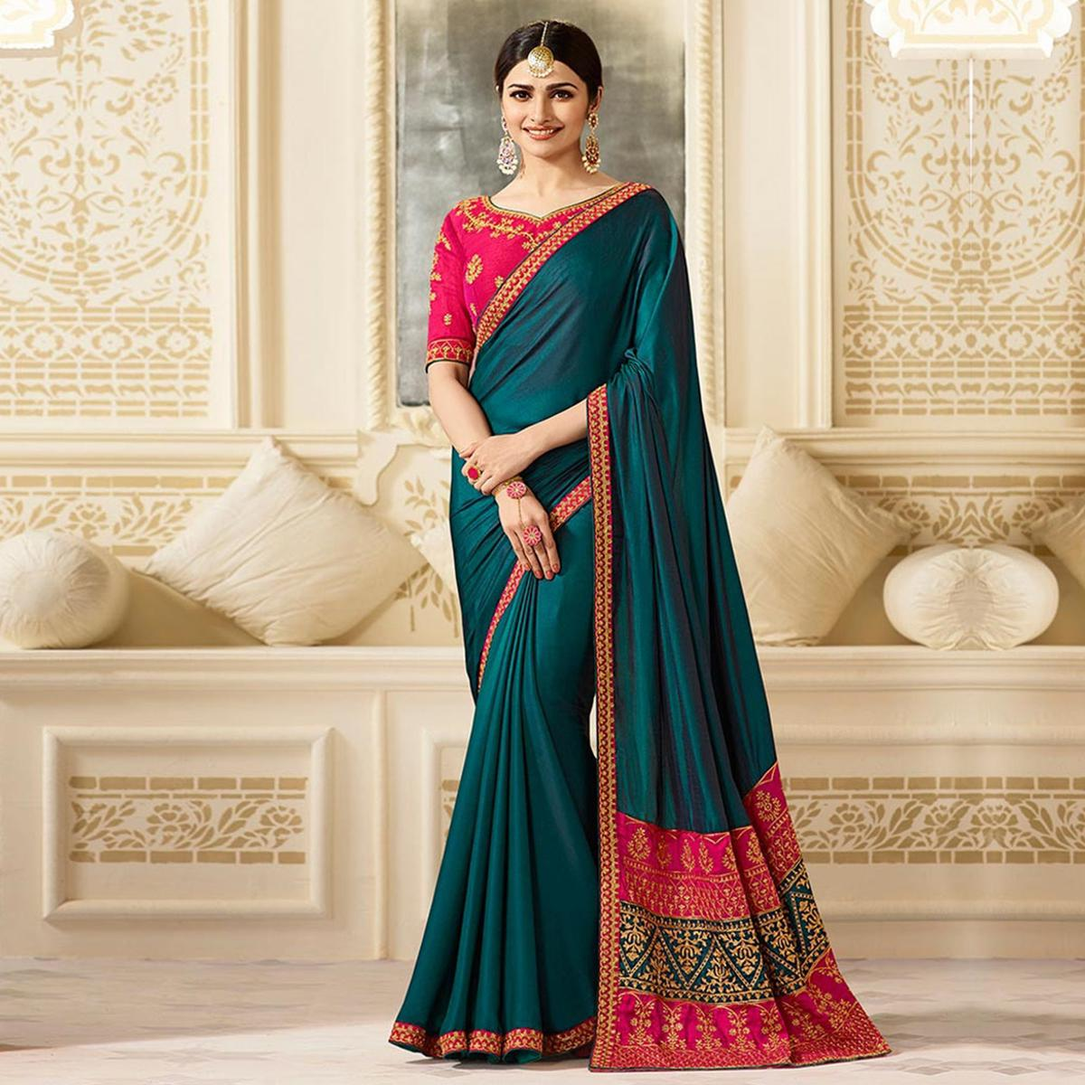 Appealing Dark Green Partywear Designer Blouse Sparkle Silk Saree