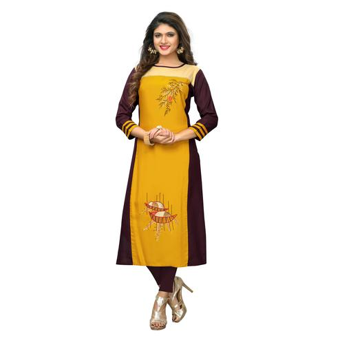 Vbuyz Women's - Yellow-Brown Colored Casual Embroidered Rayon Straight Kurti