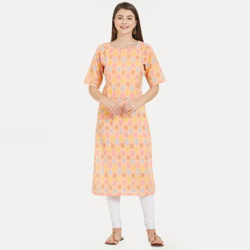 Vbuyz Women's - Peach Colored Casual Cotton Straight Kurti