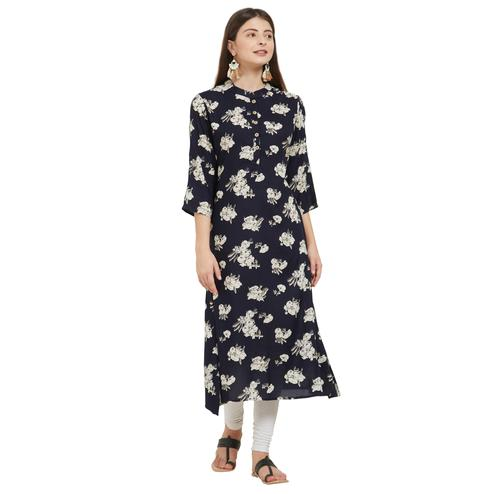 Vbuyz Women's - Navy Blue Colored Casual Printed Rayon A-Line Kurti