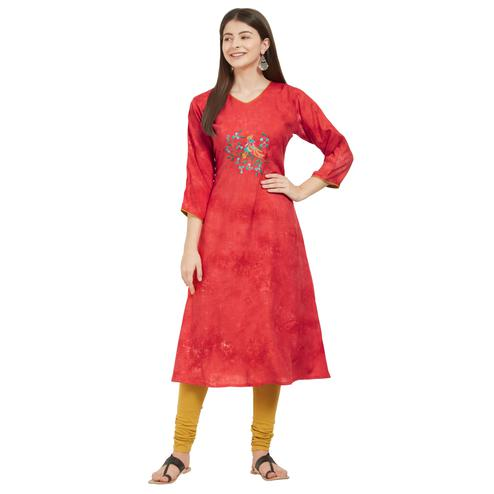 Vbuyz Women's - Red Colored Casual Embroidered Rayon A-Line Kurti