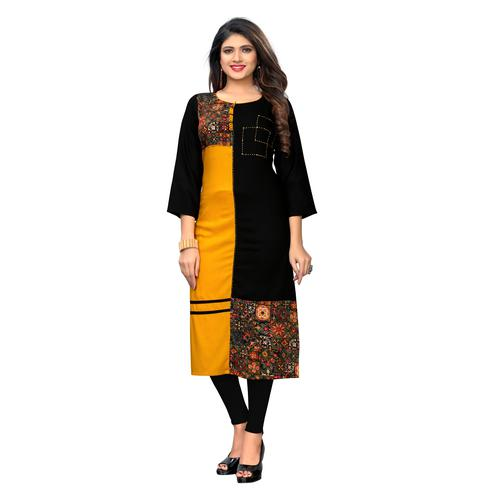 Vbuyz Women's - Black-Yellow Colored Casual Printed Rayon Straight Kurti