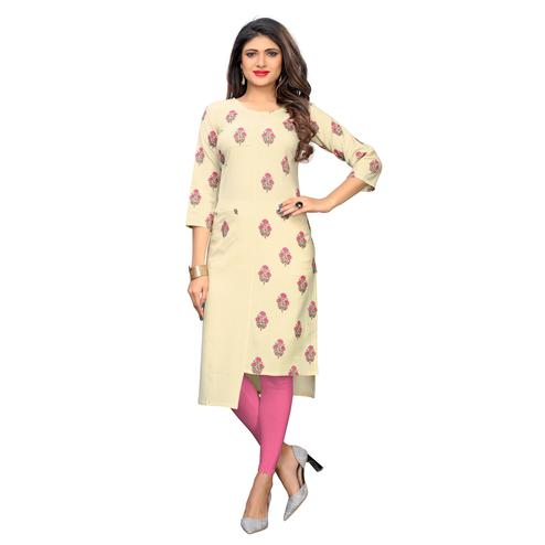 Vbuyz Women's - Beige Colored Casual Printed Cotton Straight Kurti