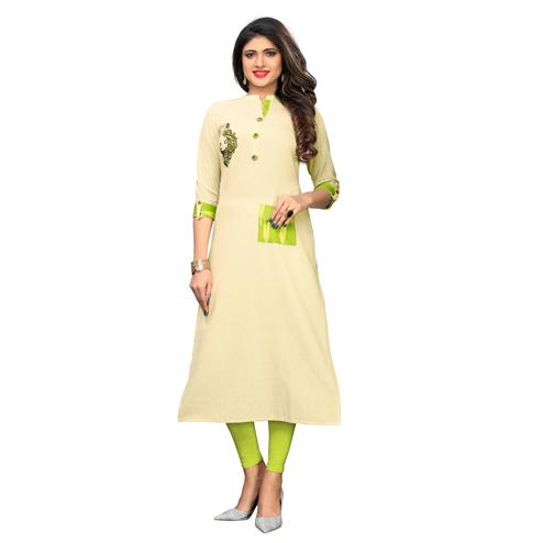 Vbuyz Women's - Beige Colored Casual Embroidered Cotton A-Line Kurti
