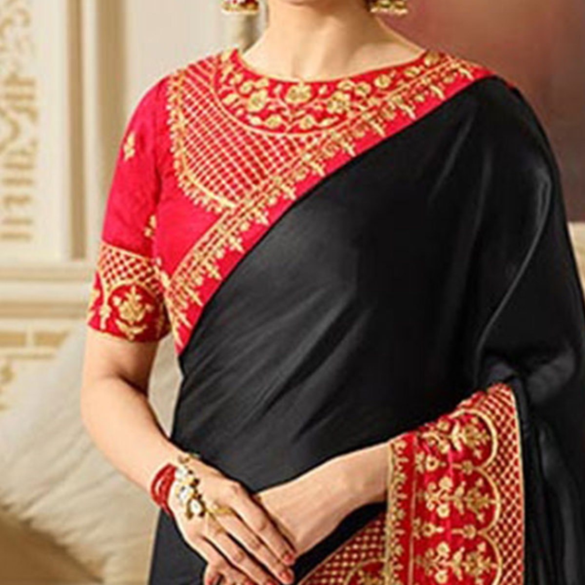 Charming Black Partywear Designer Blouse Sparkle Silk Saree