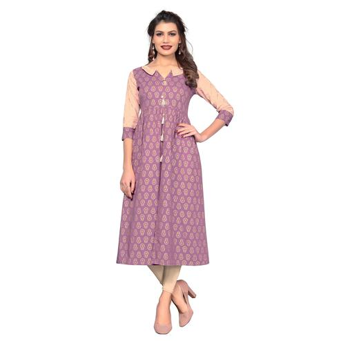 Vbuyz Women's - Light Purple Colored Casual Printed Cotton Flared Kurti