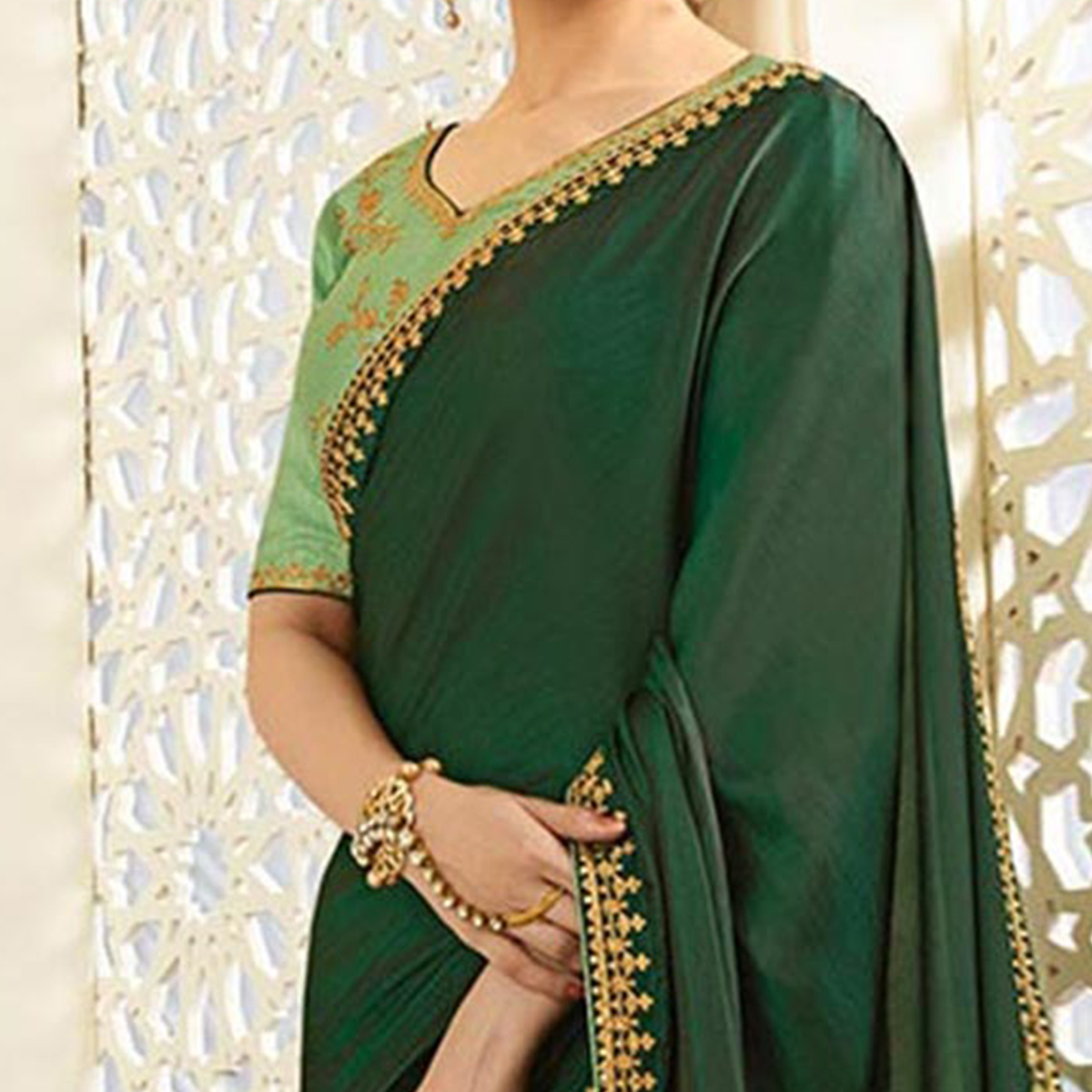 Graceful Green Partywear Designer Blouse Sparkle Silk Saree