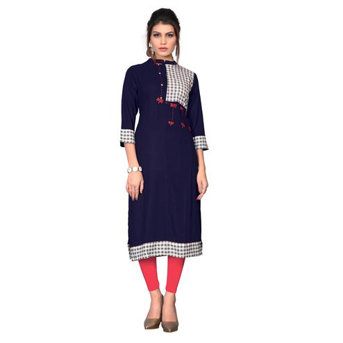 Vbuyz Women's - Blue Colored Casual Rayon Straight Kurti