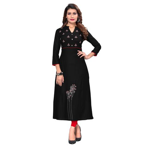 Vbuyz Women's - Black Colored Casual Embroidered Rayon Flared Kurti
