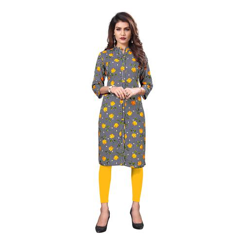 Vbuyz Women's - Black And Yellow Colored Casual Printed Rayon Straight Kurti