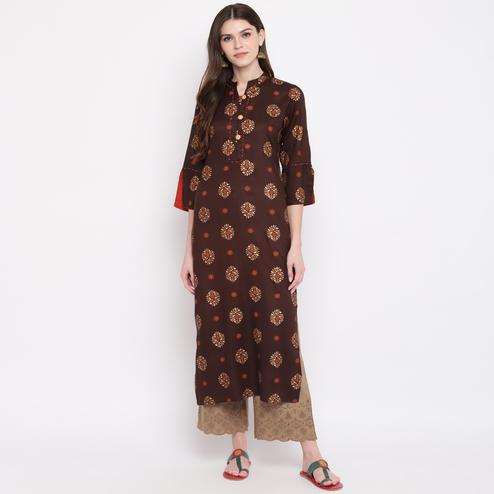 Vbuyz Women's - Brown Colored Casual Printed Rayon Straight Kurti