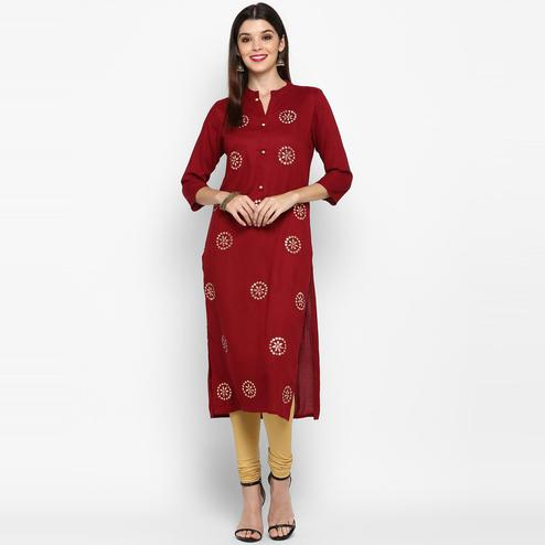 Vbuyz Women's - Maroon Colored Casual Handwork Rayon Straight Kurti