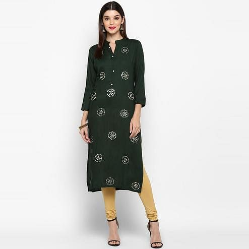 Vbuyz Women's - Green Colored Casual Handwork Rayon Straight Kurti