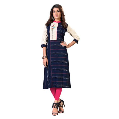 Vbuyz Women's - Blue Colored Casual Embroidered Cotton Straight Kurti