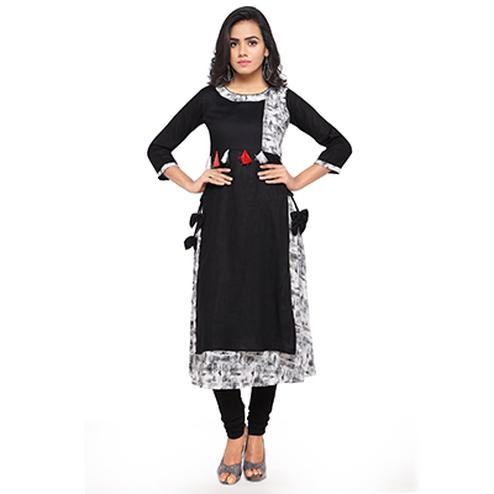 Designer Print Black Fancy Rayon Kurti