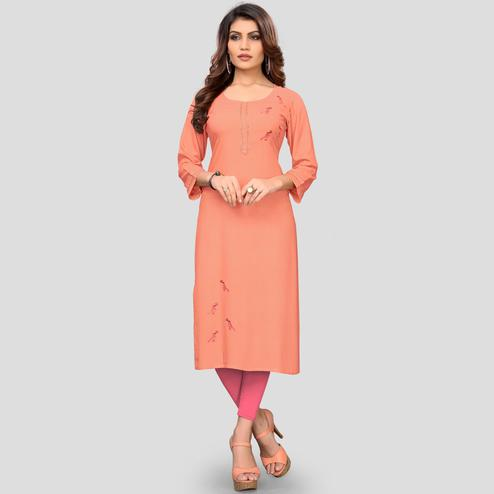 Vbuyz Women's - Peach Colored Casual Rayon Straight Kurti