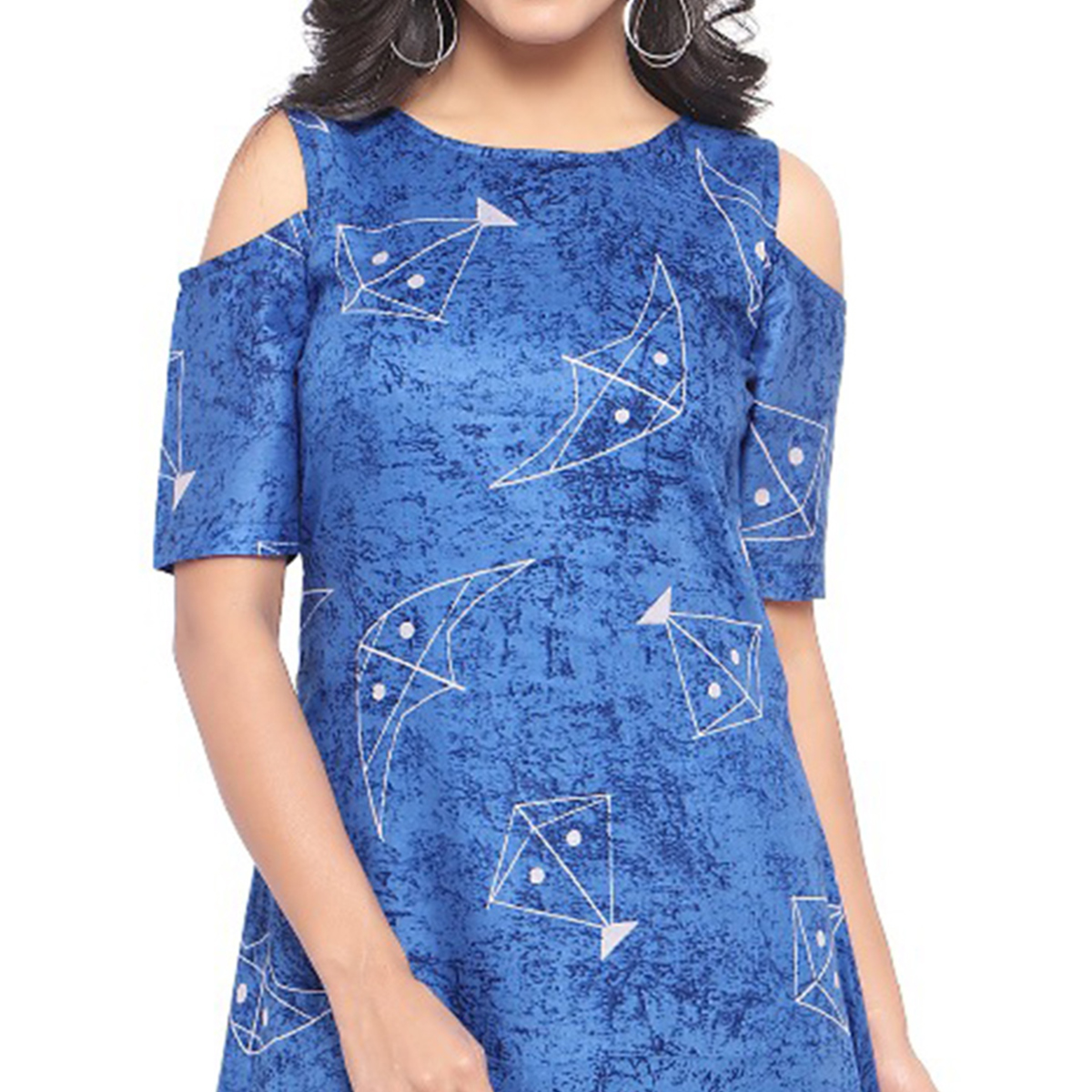 Designer Print Blue Fancy Cambric Cotton Kurti