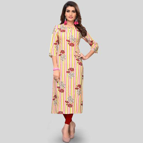 Vbuyz Women's - Multi Colored Casual Printed Rayon Straight Kurti