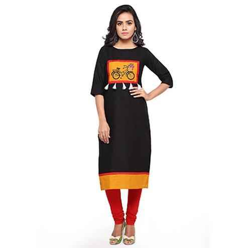 Designer Print Black Fancy Slub Cotton Kurti