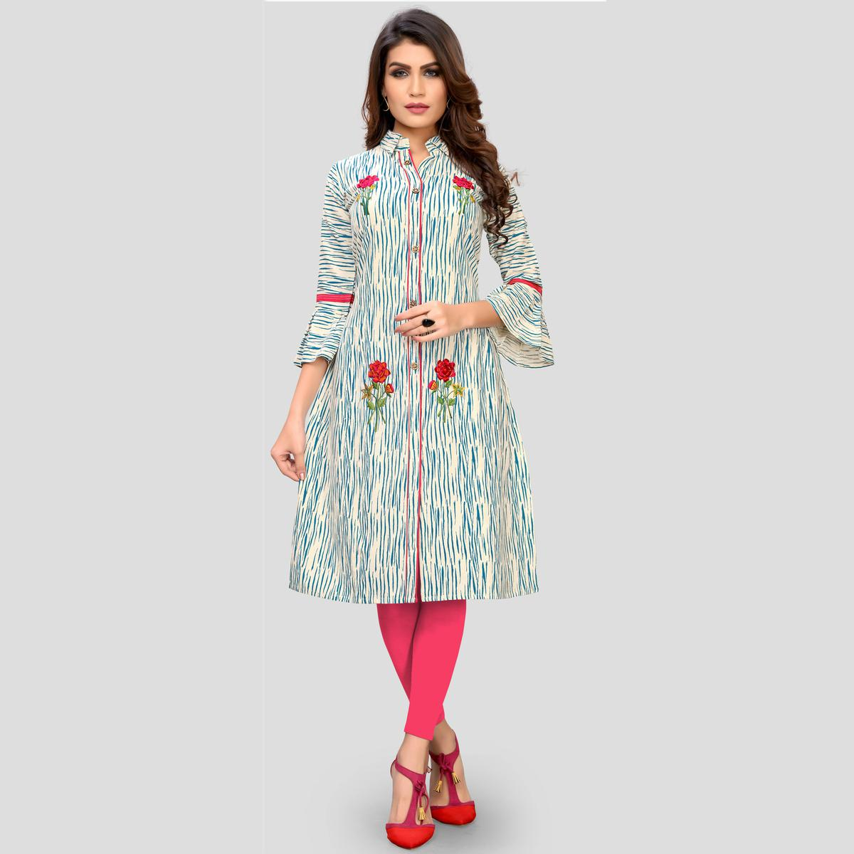 Vbuyz Women's - Blue And Beige Colored Casual Printed Cotton Flared Kurti