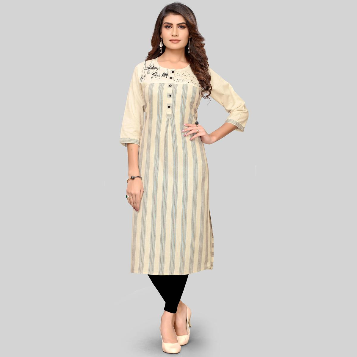 Vbuyz Women's - Beige And Blue Colored Casual Printed Cotton Straight Kurti