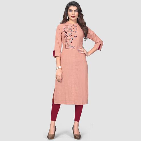 Vbuyz Women's - Peach Colored Casual Embroidered Cotton Straight Kurti